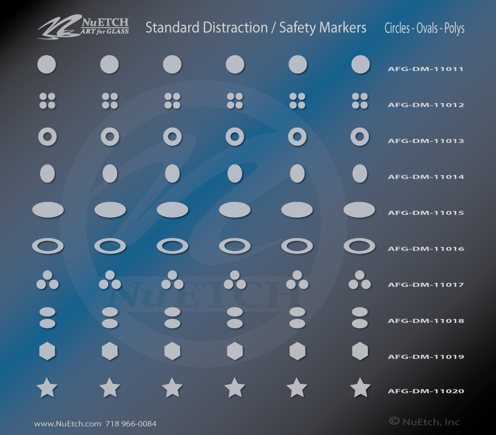 NuEtch Distraction Safety Marker Designs Circles - Ovals - Polys