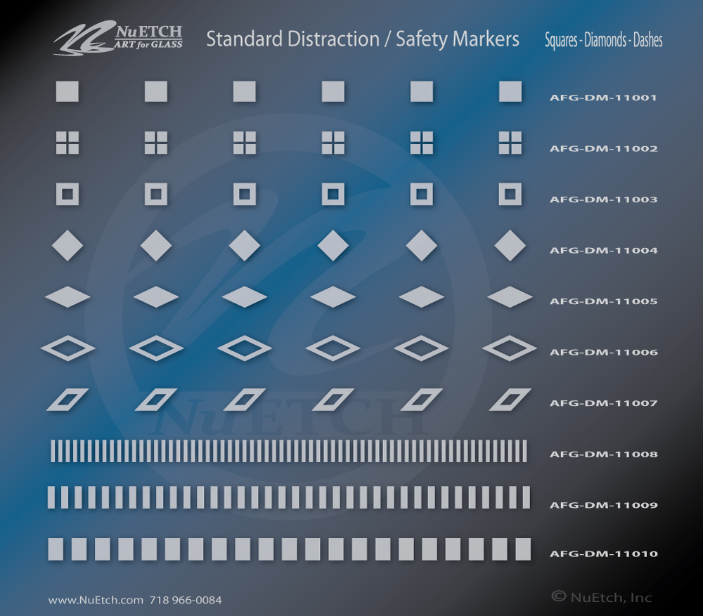 NuEtch Distraction Safety Marker Designs Squares - Diamonds - Dashes