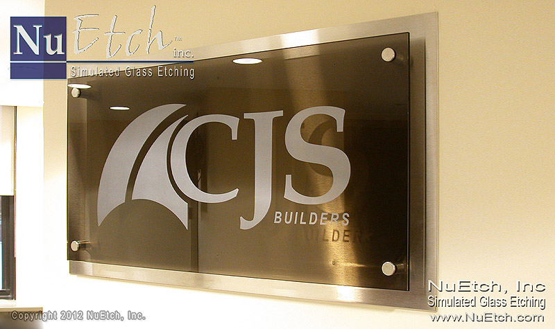 Etched Logo on Glass Sign