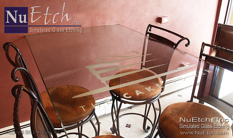 NuEtch – Etched Logo Glass Table