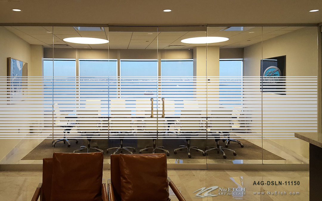 Privacy stripes for glass walls